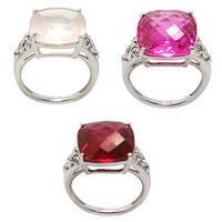 De Buman Genuine Pink Quartz, Created Pink Tourmaline, Ruby and Cubic Zircornia Sterling Silver Ring