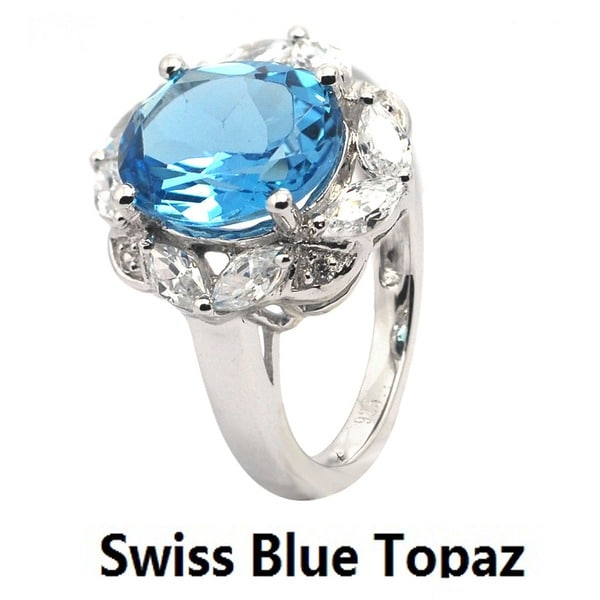 De Buman Genuine Swiss Blue Topaz Amethyst with CZ Sterling Silver Ring