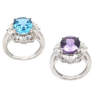 De Buman Genuine Swiss Blue Topaz, Amethyst with Cubic Zircornia Sterling Silver Ring