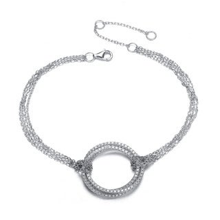 Collette Z Sterling Silver Cubic Zirconia Circle and Chain Bracelet