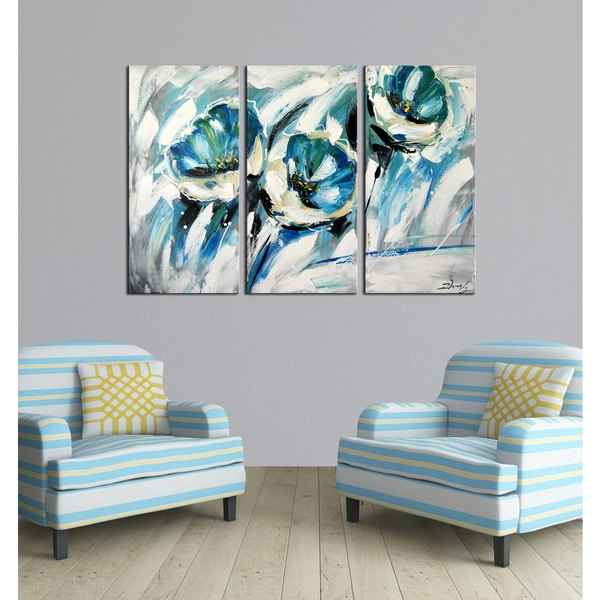 Hand-painted 'The Winding Path' 3-piece Gallery-wrapped Canvas Art Set