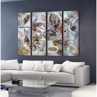 Hand-painted 'The Falling Leaf' 4-piece Gallery-wrapped Canvas Art Set