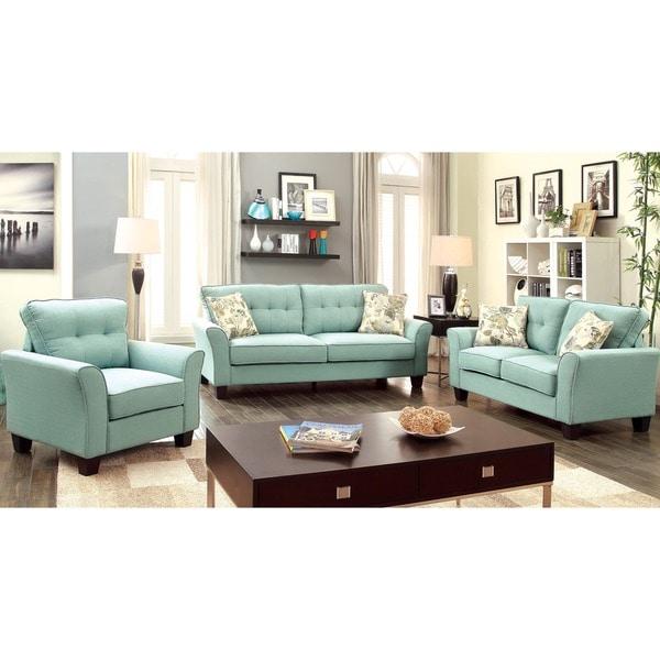 Furniture Of America Primavera Modern 3 Piece Linen Living Room Set