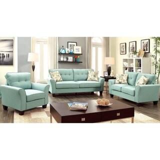 Furniture of America Primavera Modern 3-Piece Linen Living Room Set