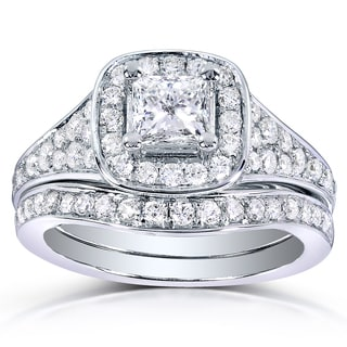 Annello by Kobelli 14k White Gold 1 1/5ct TDW Princess-cut Diamond Bridal Ring Set (H-I,