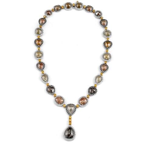 Neda Behnam 18k White Gold 61 1/2ct TDW Fancy-cut Rough Y-shaped Diamond Necklace