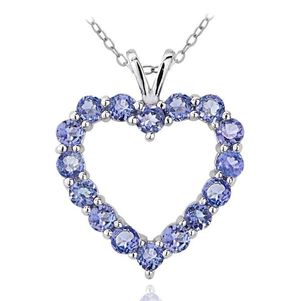 Glitzy Rocks Sterling Silver 1 7/8ct TGW Tanzanite Open Heart Necklace