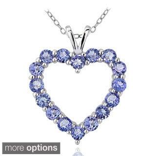 Glitzy Rocks Sterling Silver 1 7/8ct TGW Tanzanite Open Heart Necklace