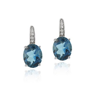 Glitzy Rocks Sterling Silver 6 2/5ct CTW London Blue Topaz Diamond Accent Leverback Earrings