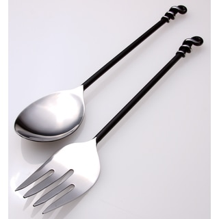 Black Twist Steel Serving Set