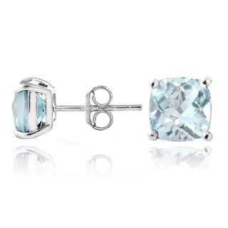 Glitzy Rocks Sterling Silver Blue Topaz Cushion-cut Stud Earrings