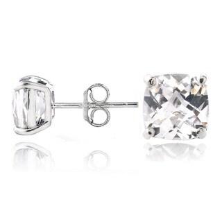Glitzy Rocks Sterling Silver White Topaz Cushion-cut Stud Earrings