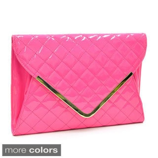 Dasein Fold-over Quilted Patent Clutch with Removable Shoulder Strap