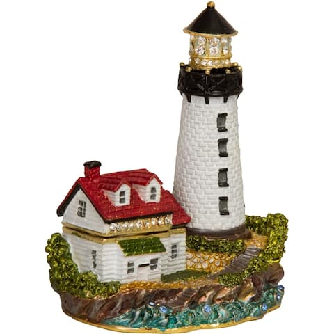 Bejeweled LUMI Guiding Lighthouse Multi-color Enamel Trinket Box