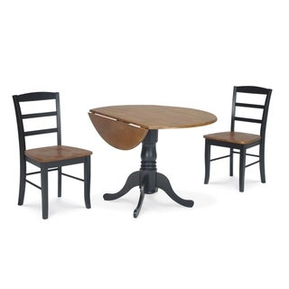 Dining Essentials 3-piece 42-inch Black/ Cherry Dual Drop-leaf Table and Madrid Chair Set