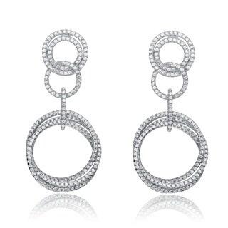 Collette Z Sterling Silver Cubic Zirconia Circle Dangle Earrings