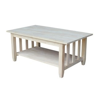 unfinished solid parawood mission tall coffee table