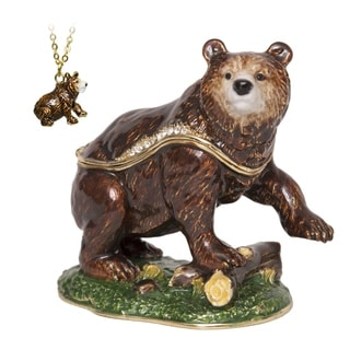 Kodiak Bear Enameled Trinket Box