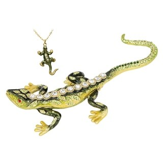 Enameled Rainforest Lizard Trinket Box