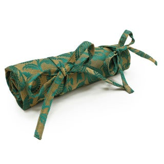 Handmade Green Floral Brocade Jewelry Roll (India)