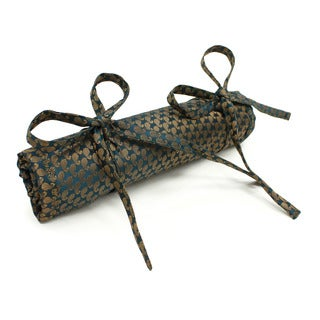 Handmade Teal Brocade Jewelry Roll (India)