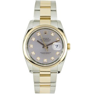 Pre-Owned Rolex Men's Datejust Two-tone Oyster Band Silver Diamond Dial Watch