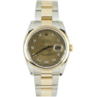 Pre-Owned Rolex Men's Datejust Two-tone Oyster Band Champagne Diamond Dial Watch