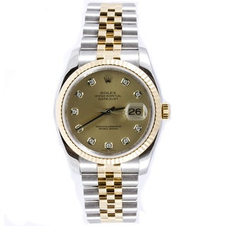 Pre-Owned Rolex Men's Datejust Two-tone Jubilee Band Champagne Diamond Dial Watch