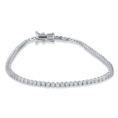 14k White Gold 3ct TDW Flexible Diamond Tennis Bracelet