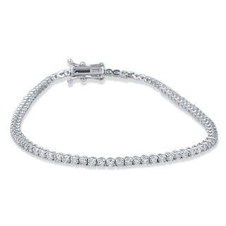 14k White Gold 3ct TDW Flexible Diamond Tennis Bracelet