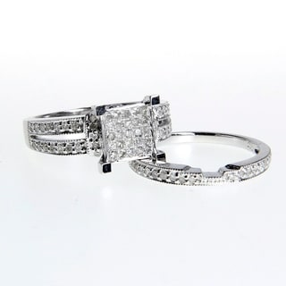 14k White Gold 1/2ct Diamond Engagement, Anniversary Ring Set (G-H, I1-I2)