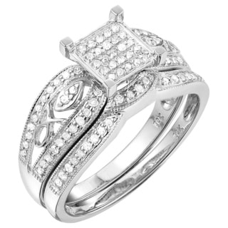 10k White Gold 1/2ct TDW White Diamond Engagement Bridal Set