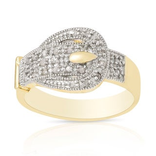 Finesque Gold Over Sterling Silver 1/4 ct TDW Diamond Buckle Design Ring