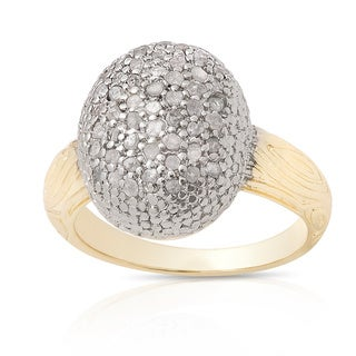 Finesque Gold Over Silver 1/2ct TDW Pave Oval Diamond Ring (I-J, I2-I3)