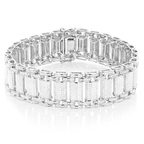 Luxurman Sterling Silver Men's 5ct TDW White Diamond Bracelet