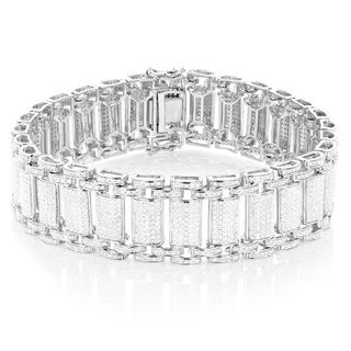Luxurman Sterling Silver Men's 5ct TDW White Diamond Bracelet