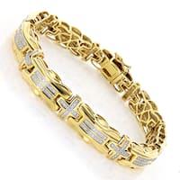 Luxurman Goldplated Sterling Silver Men's Two-tone 1/3ct TDW Diamond Cross Bracelet