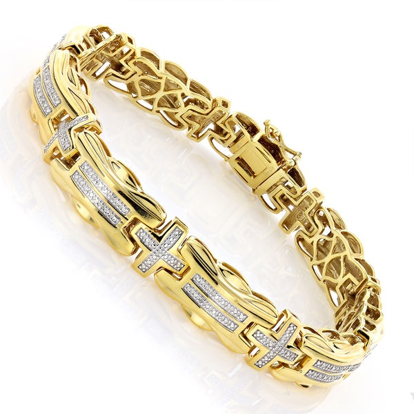 Shop Luxurman Goldplated Sterling Silver Two Tone 1 3ct