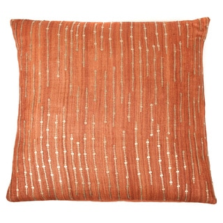 Handmade Sequins Orange Decorative Accent Pillow