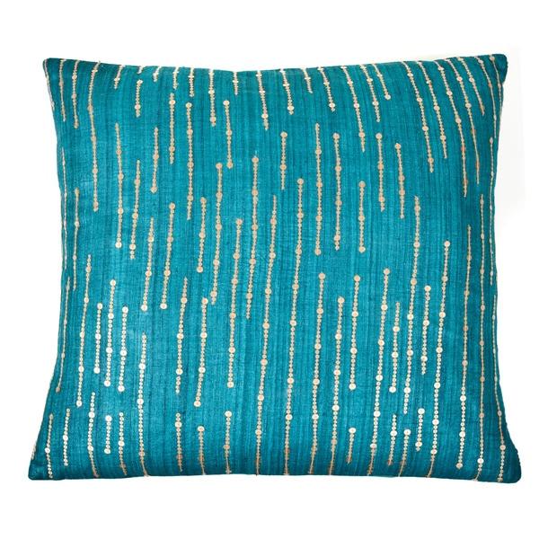 Handmade Sequins Teal Decorative Accent Pillow