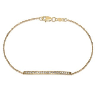 14k Yellow Gold 1/4ct TDW Diamond Bar Bracelet