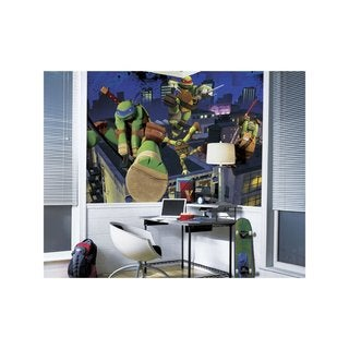 Teenage Mutant Ninja Turtles Cityscape Chair Rail Prepasted Mural 6' x 10.5' - Ultra-strippable