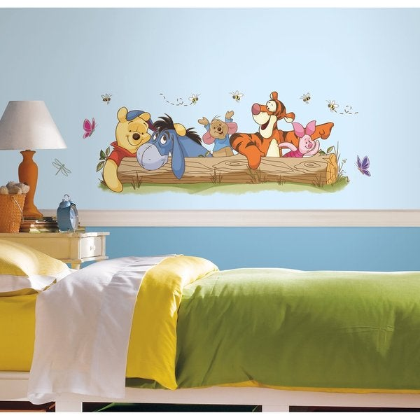 Pooh friends outdoor fun peel and stick giant wall for Baby pooh and friends wall mural