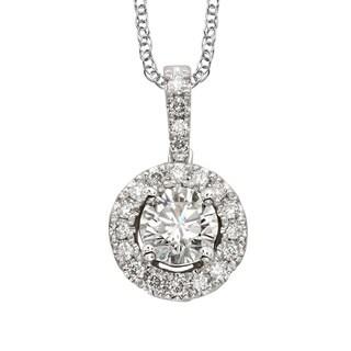 Sofia 18k White Gold 1/2ct TDW Diamond Halo Pendant Necklace (E-F, SI1-SI2)