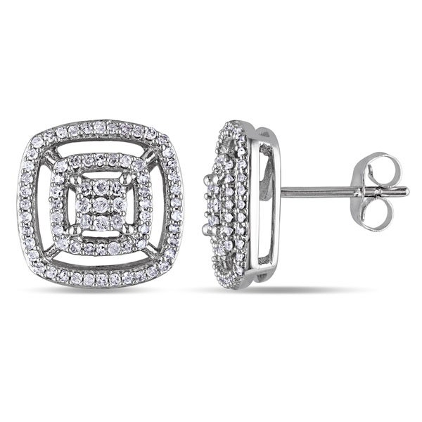 Miadora 10k White Gold 1/2ct TDW Diamond Stud Earrings
