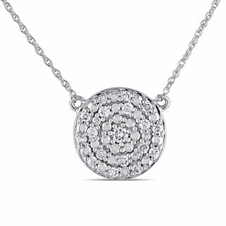 Miadora 10k White Gold 1/4ct TDW Diamond Circle Necklace