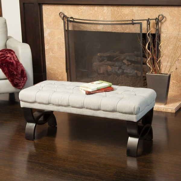 "Scarlette Tufted Fabric Ottoman Bench by Christopher Knight Home - 17""H x 41""W x 17.25""D. Opens flyout."