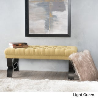"""Scarlette Tufted Fabric Ottoman Bench by Christopher Knight Home - 17""""H x 41""""W x 17.25""""D"""