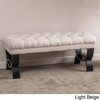 """Scarlette Tufted Fabric Ottoman Bench by Christopher Knight Home - 17""""H x 41""""W x 17.25""""D (4 options available)"""