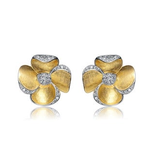 Collette Z Gold-plated Sterling Silver Cubic Zirconia Flower Shape Earrings